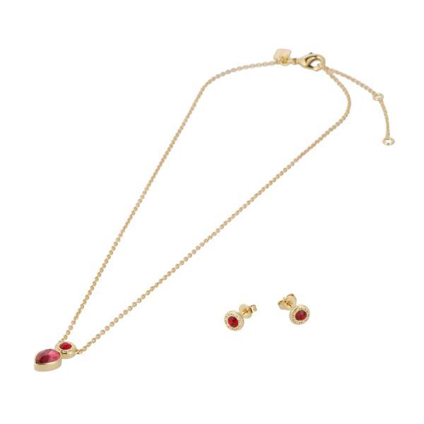 [コーチ] ネックレス イヤリング セット COACH Open Circle Necklace Pear Earrings C0149 GDRED GD/RED