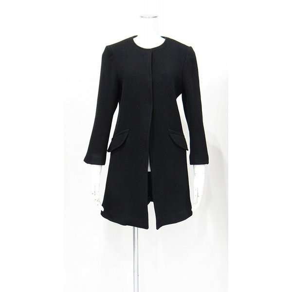 レディース コート ノーカラー 黒 ウール フォーマル ドレス 7部丈 膝下丈 ブラック XS~Sサイズ|queenandking