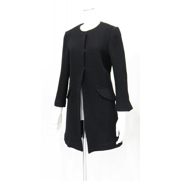 レディース コート ノーカラー 黒 ウール フォーマル ドレス 7部丈 膝下丈 ブラック XS~Sサイズ|queenandking|02