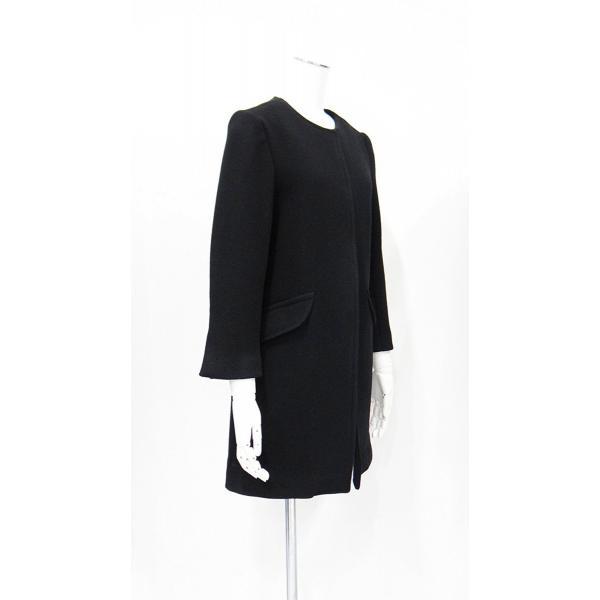 レディース コート ノーカラー 黒 ウール フォーマル ドレス 7部丈 膝下丈 ブラック XS~Sサイズ|queenandking|03