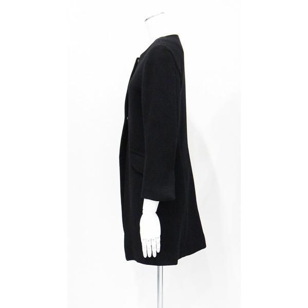 レディース コート ノーカラー 黒 ウール フォーマル ドレス 7部丈 膝下丈 ブラック XS~Sサイズ|queenandking|04