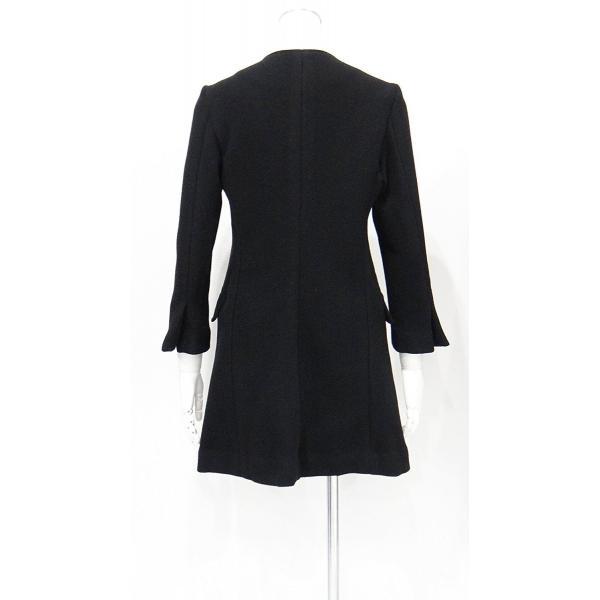 レディース コート ノーカラー 黒 ウール フォーマル ドレス 7部丈 膝下丈 ブラック XS~Sサイズ|queenandking|05