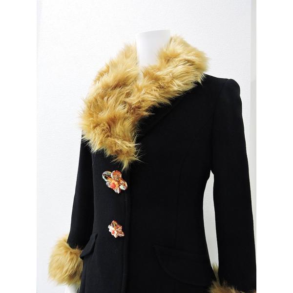 レディース コート 黒 フォーマル ブラック ハーフ 丈 ウール コート レディース 7部丈 膝丈 膝下丈 上品 フォーマル アウター XSサイズ ~ Sサイズ|queenandking|02