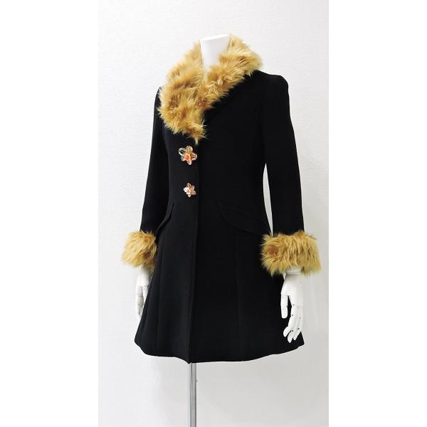 レディース コート 黒 フォーマル ブラック ハーフ 丈 ウール コート レディース 7部丈 膝丈 膝下丈 上品 フォーマル アウター XSサイズ ~ Sサイズ|queenandking|03
