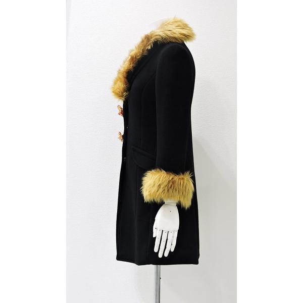 レディース コート 黒 フォーマル ブラック ハーフ 丈 ウール コート レディース 7部丈 膝丈 膝下丈 上品 フォーマル アウター XSサイズ ~ Sサイズ|queenandking|04