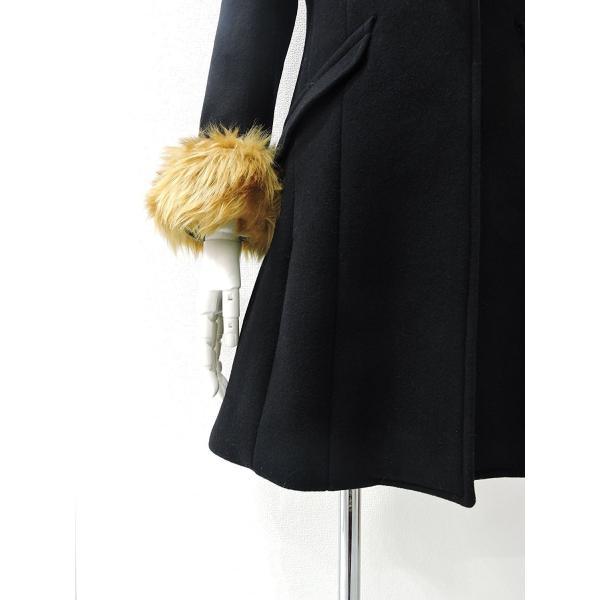 レディース コート 黒 フォーマル ブラック ハーフ 丈 ウール コート レディース 7部丈 膝丈 膝下丈 上品 フォーマル アウター XSサイズ ~ Sサイズ|queenandking|06