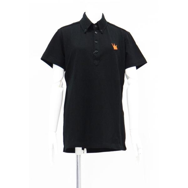 ポロシャツ 無地 ボタンダウンカラー 半袖 4つ釦 鹿の子 黒 Lサイズ queenandking