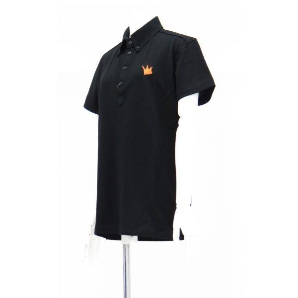 ポロシャツ 無地 ボタンダウンカラー 半袖 4つ釦 鹿の子 黒 Lサイズ queenandking 02