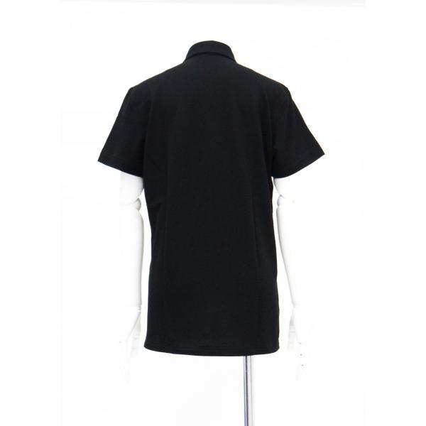 ポロシャツ 無地 ボタンダウンカラー 半袖 4つ釦 鹿の子 黒 Lサイズ queenandking 04