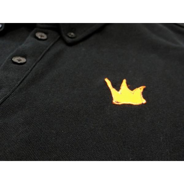ポロシャツ 無地 ボタンダウンカラー 半袖 4つ釦 鹿の子 黒 Lサイズ queenandking 05