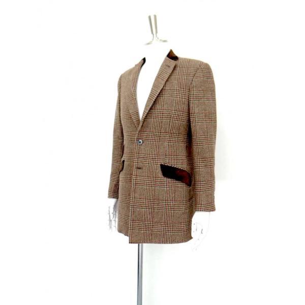 ロング ジャケット シングル チェック ウール メンズ コート チェスターコート チェック柄 メンズ サイズS 44|queenandking|02