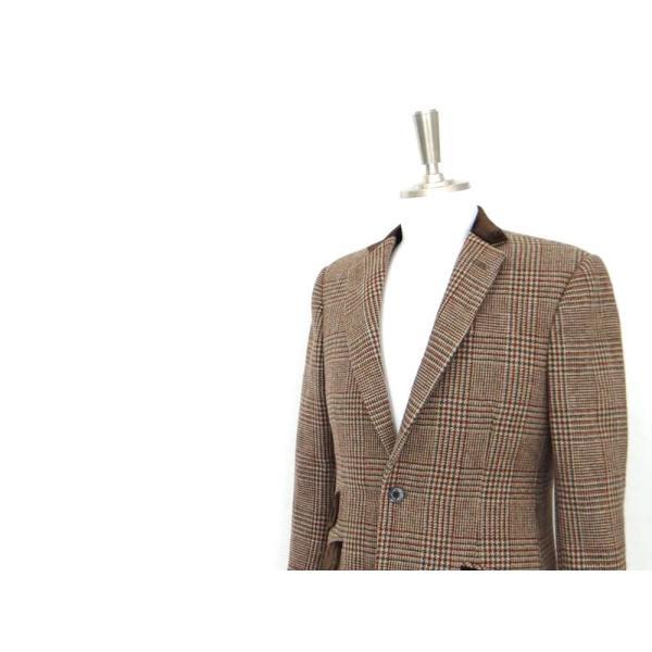 ロング ジャケット シングル チェック ウール メンズ コート チェスターコート チェック柄 メンズ サイズS 44|queenandking|03