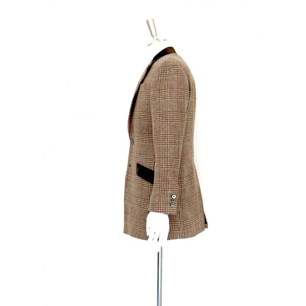 ロング ジャケット シングル チェック ウール メンズ コート チェスターコート チェック柄 メンズ サイズS 44|queenandking|04
