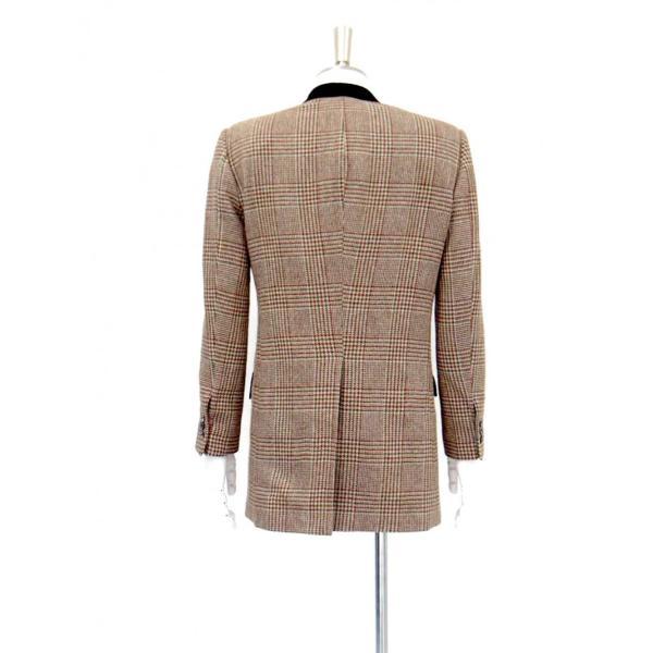ロング ジャケット シングル チェック ウール メンズ コート チェスターコート チェック柄 メンズ サイズS 44|queenandking|05