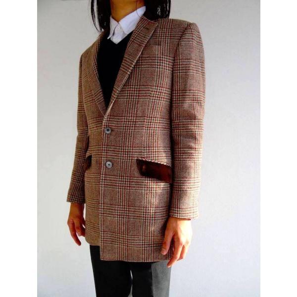 ロング ジャケット シングル チェック ウール メンズ コート チェスターコート チェック柄 メンズ サイズS 44|queenandking|06