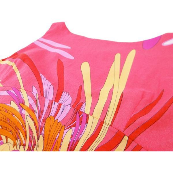 ワンピース ドレス ノースリーブ 花柄 膝丈 Aライン ピンク 綿 コットン 100% 膝下丈 ボートネック|queenandking|06
