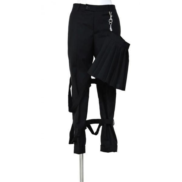 メンズ パンツ スカート 黒 ファッション メンズスカート ブラック スカート付き S サイズ 44|queenandking