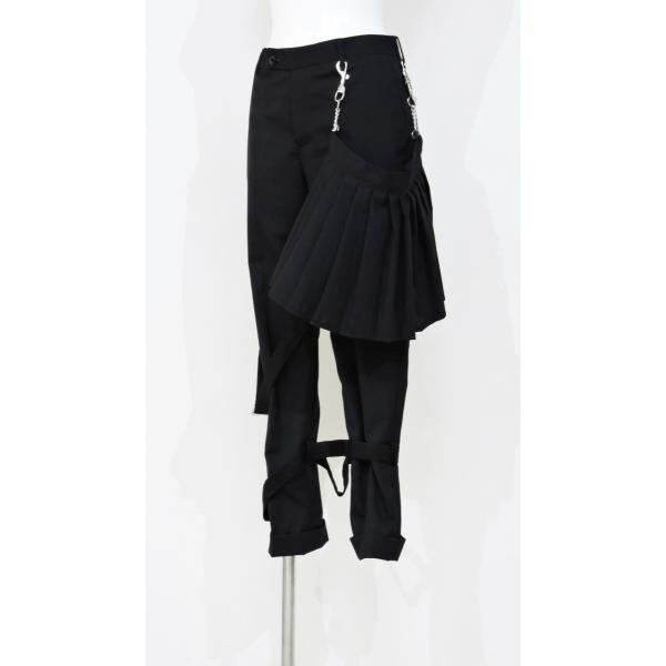 メンズ パンツ スカート 黒 ファッション メンズスカート ブラック スカート付き S サイズ 44|queenandking|02