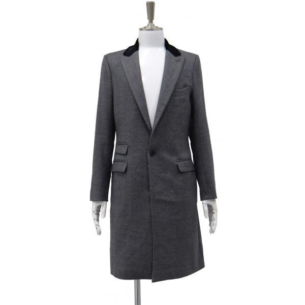 グレー メンズ チェスターコート コート 長袖 灰色 メンズコート チェスター コート Sサイズ 44|queenandking