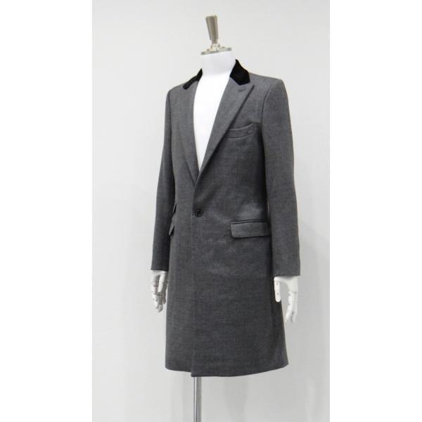 グレー メンズ チェスターコート コート 長袖 灰色 メンズコート チェスター コート Sサイズ 44 queenandking 02