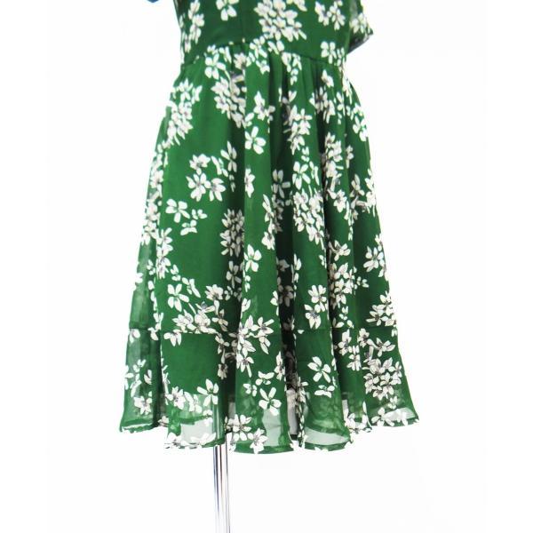 ワンピース ドレス フレアー 花柄 半袖 膝丈 Aライン シフォン 緑 レディース|queenandking|05