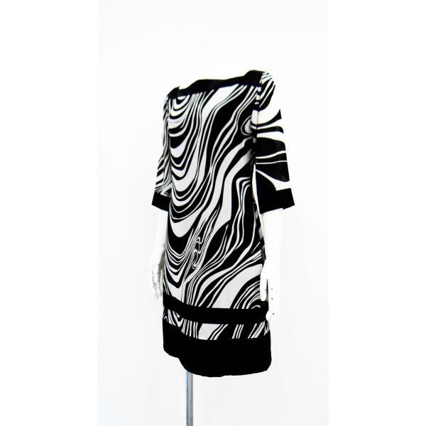 ワンピース ドレス 七分袖 膝丈 スクエアネック 白 黒 マーブル 柄 上品 清楚|queenandking|02