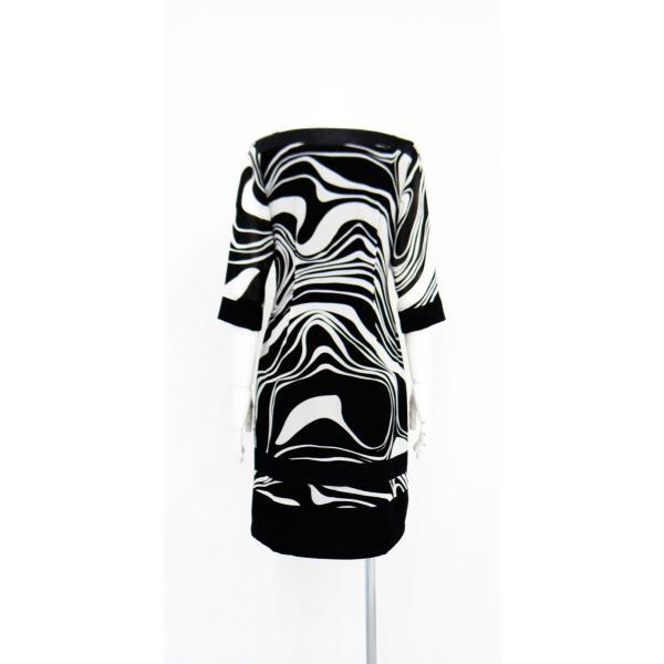 ワンピース ドレス 七分袖 膝丈 スクエアネック 白 黒 マーブル 柄 上品 清楚|queenandking|04