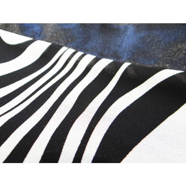 ワンピース ドレス 七分袖 膝丈 スクエアネック 白 黒 マーブル 柄 上品 清楚|queenandking|05
