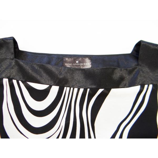 ワンピース ドレス 七分袖 膝丈 スクエアネック 白 黒 マーブル 柄 上品 清楚|queenandking|06