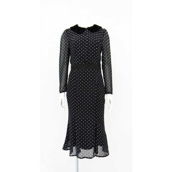 ワンピース ドレス 襟 衿 ベルベット 長袖 マーメイド フレアー 白 黒 ドット 柄 水玉 ロング|queenandking