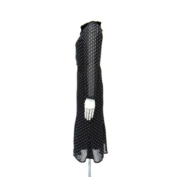 ワンピース ドレス 襟 衿 ベルベット 長袖 マーメイド フレアー 白 黒 ドット 柄 水玉 ロング|queenandking|03