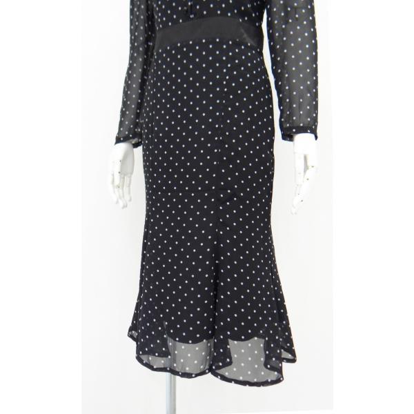 ワンピース ドレス 襟 衿 ベルベット 長袖 マーメイド フレアー 白 黒 ドット 柄 水玉 ロング|queenandking|05