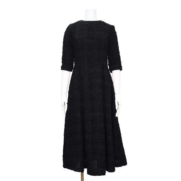 ツイード チェック柄 ブラック ドレス ワンピース ワンピースの門|queenandking