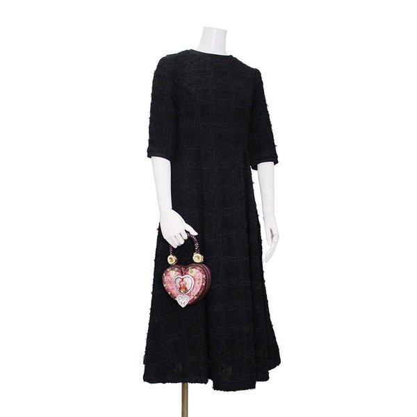 ツイード チェック柄 ブラック ドレス ワンピース ワンピースの門|queenandking|02