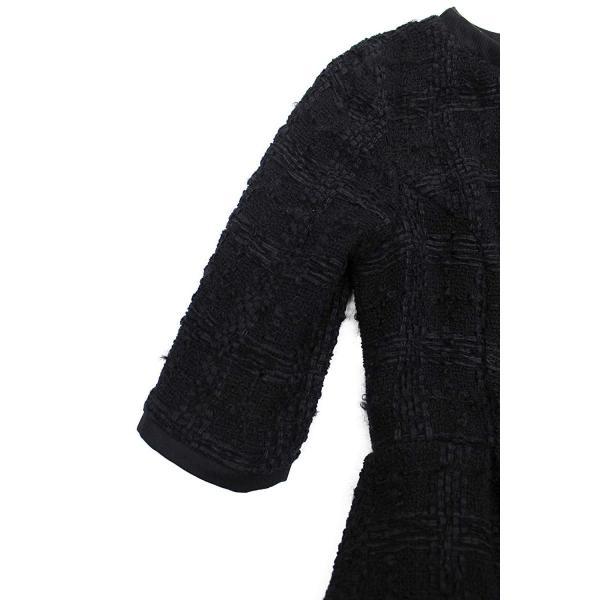 ツイード チェック柄 ブラック ドレス ワンピース ワンピースの門|queenandking|03