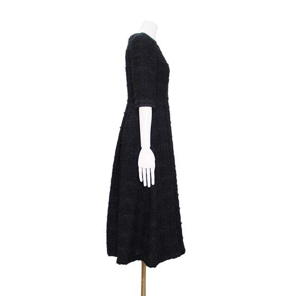 ツイード チェック柄 ブラック ドレス ワンピース ワンピースの門|queenandking|04
