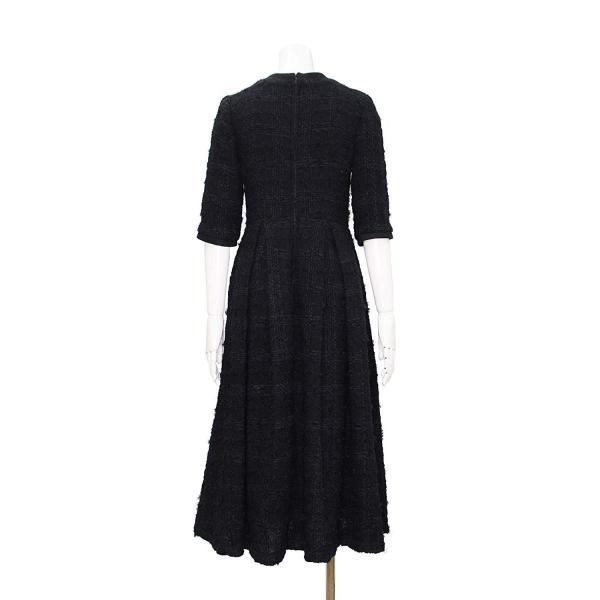 ツイード チェック柄 ブラック ドレス ワンピース ワンピースの門|queenandking|05