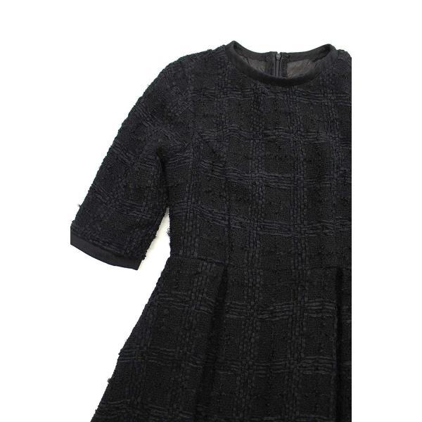 ツイード チェック柄 ブラック ドレス ワンピース ワンピースの門|queenandking|06