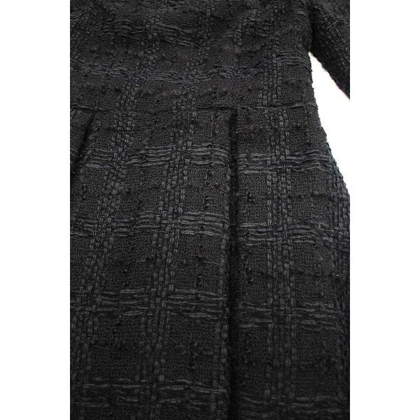ツイード チェック柄 ブラック ドレス ワンピース ワンピースの門|queenandking|07