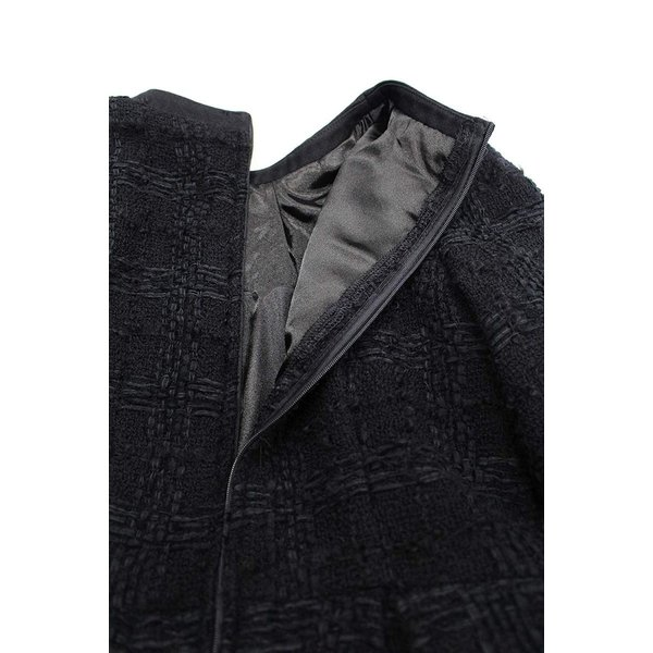 ツイード チェック柄 ブラック ドレス ワンピース ワンピースの門|queenandking|08