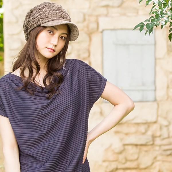 1000円 セール UV 紫外線対策 帽子 レディース 大きいサイズ 商品名 つば付きあみあみニットキャスケット 日よけ|queenhead|02