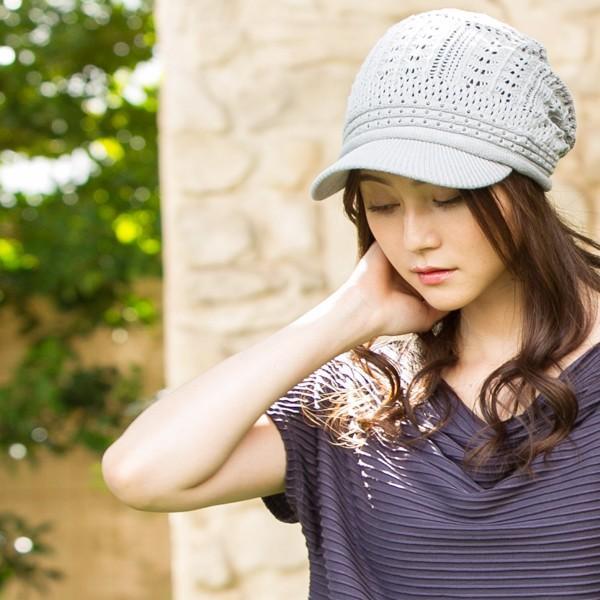 1000円 セール UV 紫外線対策 帽子 レディース 大きいサイズ 商品名 つば付きあみあみニットキャスケット 日よけ|queenhead|07