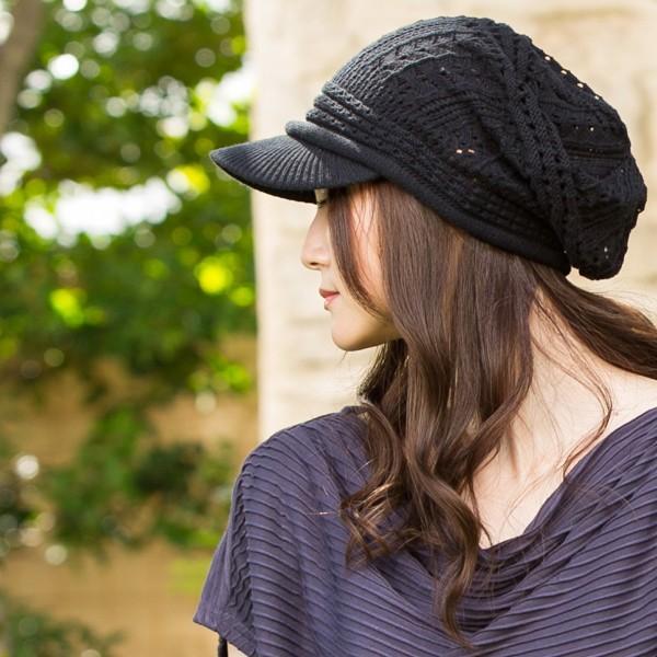 1000円 セール UV 紫外線対策 帽子 レディース 大きいサイズ 商品名 つば付きあみあみニットキャスケット 日よけ|queenhead|10