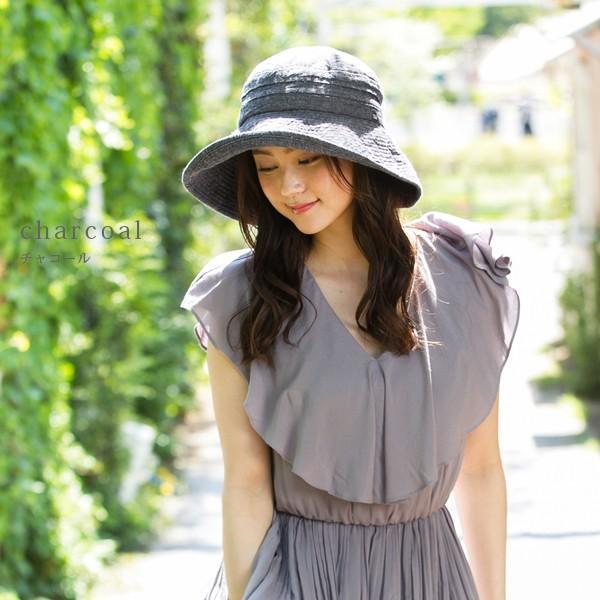 帽子 レディース 夏 夏用 大きいサイズ UV UVカット つば広 エレガントUVハット 日よけ 折りたたみ 女優帽 自転車 飛ばない 56-63cm|queenhead|12