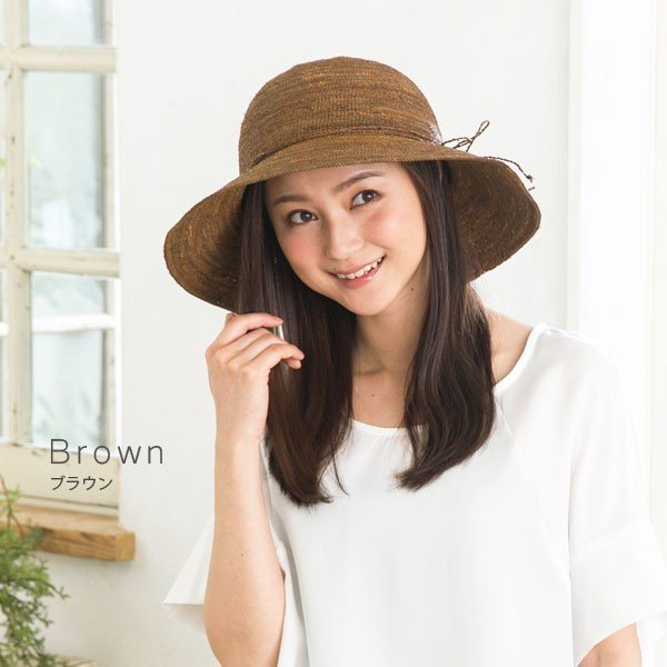 細編みラフィアHAT 帽子 レディース 夏 夏用 つば広 UV UV対策 麦わら 折りたたみ UVカット 56-63cm 商品名 3サイズ細編みラフィア100%HAT|queenhead|14