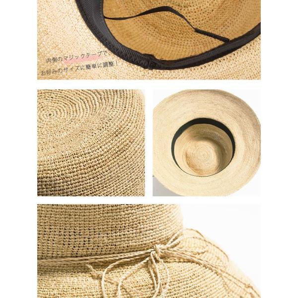 細編みラフィアHAT 帽子 レディース 夏 夏用 つば広 UV UV対策 麦わら 折りたたみ UVカット 56-63cm 商品名 3サイズ細編みラフィア100%HAT|queenhead|19