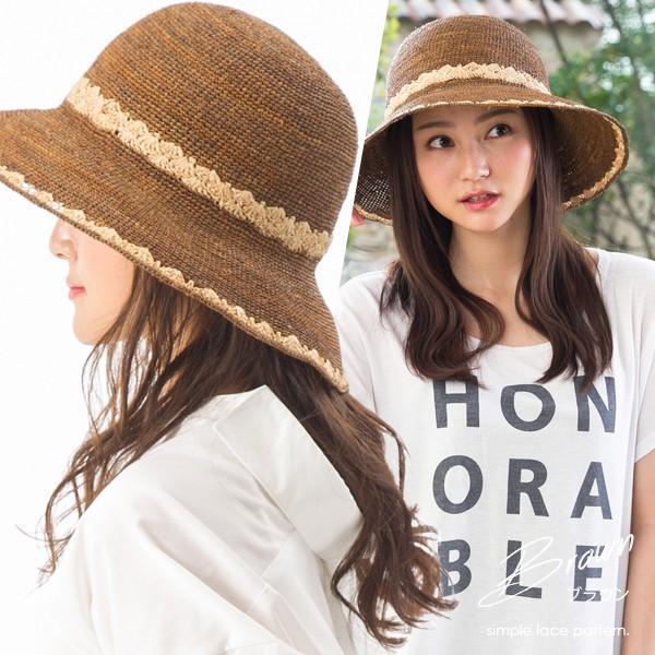 帽子 レディース 夏  ラフィア 麦わら 大きいサイズ UVハット ラフィアハット 飛ばない ツートーンラフィアハット つば広ハット 麦わら帽子 折りたたみ|queenhead|18