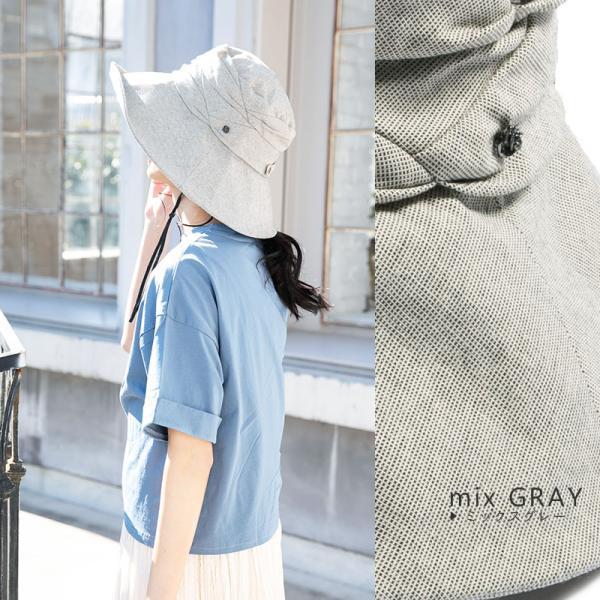 紫外線100%カット  帽子 レディース 大きいサイズ つば広 自転車 飛ばない あご紐着脱可能 56-63cm 紐付きエレガントUVハット SALE セール|queenhead|15