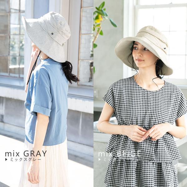 紫外線100%カット  帽子 レディース 大きいサイズ つば広 自転車 飛ばない あご紐着脱可能 56-63cm 紐付きエレガントUVハット SALE セール|queenhead|18