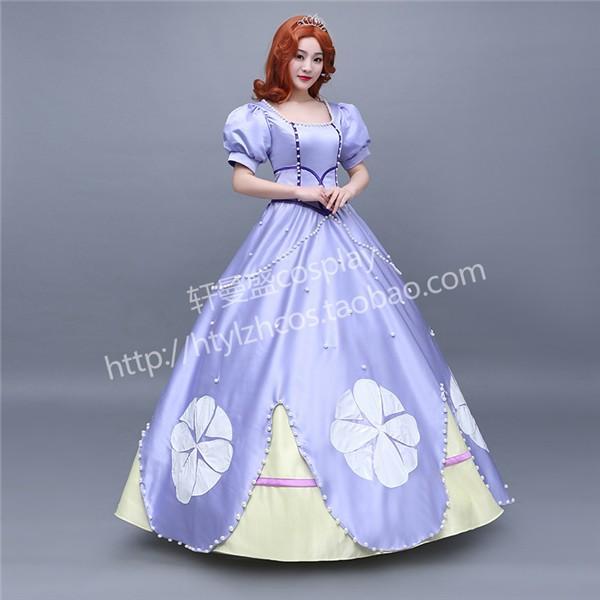 3ccbe68a3f111 ... WL456 ハロウィン ソフィア ドレス コスチューム 大人 女性用 ディズニー プリンセス コスプレ 衣装 レディース ドレス ...